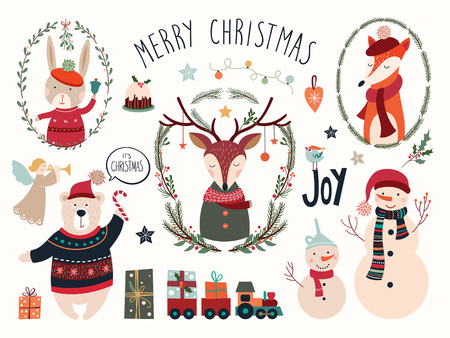 Christmas elements collection with deer and seasonal hand drawn elements Çizim