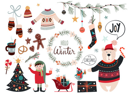 Christmas collection with decorative seasonal elements