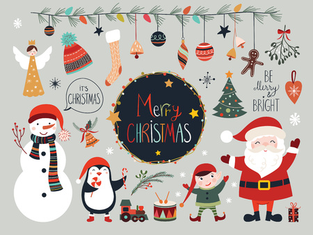 Christmas elements collection with Santa and snowman Ilustração