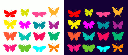 Butterflies collection with different colorful elements Çizim