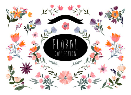 Floral branches collection with hand drawn elements Çizim
