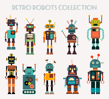 Retro robots collection with different characters, vector design