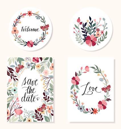 Save the date collection with hand drawn design elements, wedding invitation