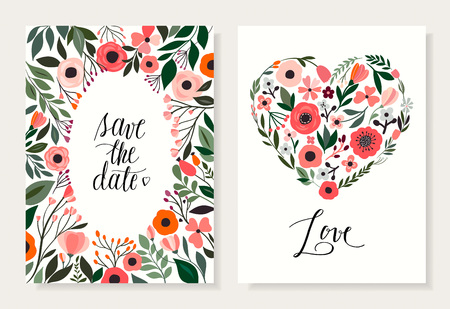 Save the date floral cards collection with hand drawn flowers and plants