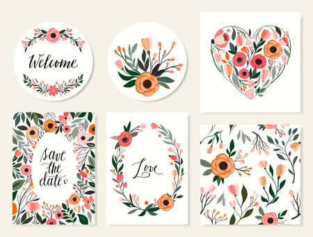 Wedding cards collection with six hand drawn floral cards templates, floral wreath and seamless pattern