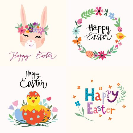 Easter greeting cards collection with eggs and bunny Çizim