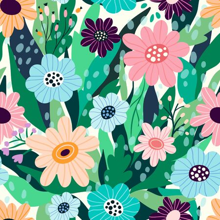 seamless floral pattern with hand drawn flowers and leaves