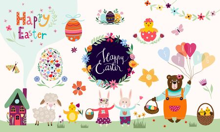 Easter elements collection with floral wreath and hand lettering