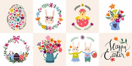 Easter cards collection with seasonal elements