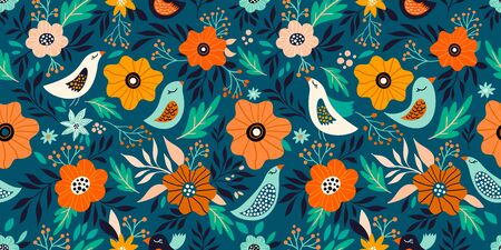 Spring time seamless pattern with floral design
