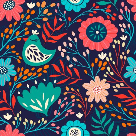 Floral seamless pattern with birds, flowers and plants Çizim
