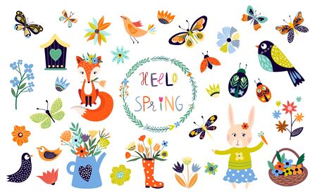 Spring time elements collection with hand drawn seasonal items