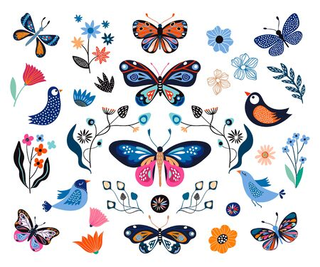 Butterflies, birds and flowers, hand drawn collection of different elements, isolated on white background Çizim