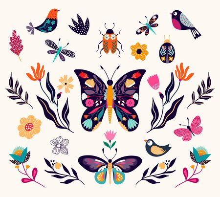 Spring and summer elements collection with decorative butterflies, birds and flowers