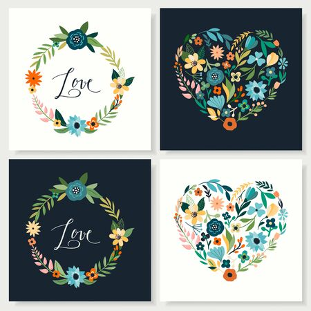 Love cards collection with hand drawn floral hearts and wreaths Çizim