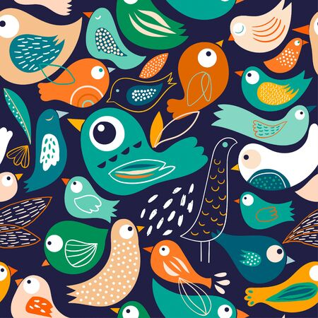 Seamless pattern with abstract birds