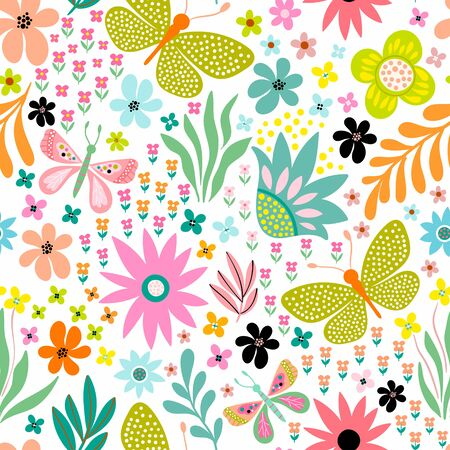 seamless floral pattern with different butterflies, flowers and plants