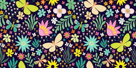 seamless floral pattern with hand drawn flowers and plants Çizim