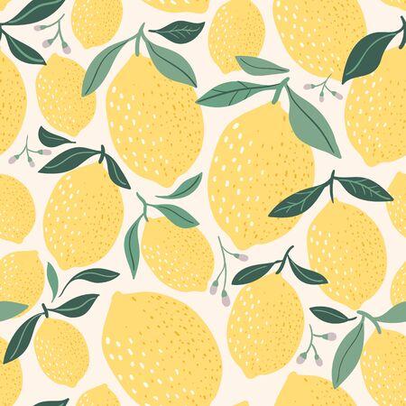 Decorative lemon seamless pattern  with hand drawn elements