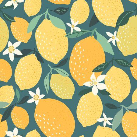 Decorative lemon pattern/background/wallpaper, hand drawn elements, modern design