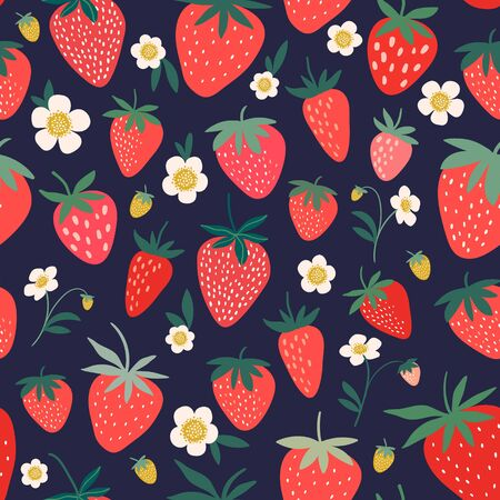 Decorative seamless pattern with strawberry flowers and fruits