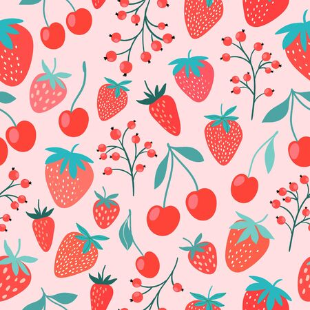 Decorative seamless pattern with fruits, strawberries, cherries and currants