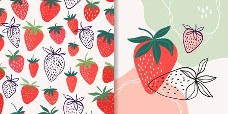 Strawberry collection with seamless pattern and abstract composition, doodle shapes, trendy design Çizim