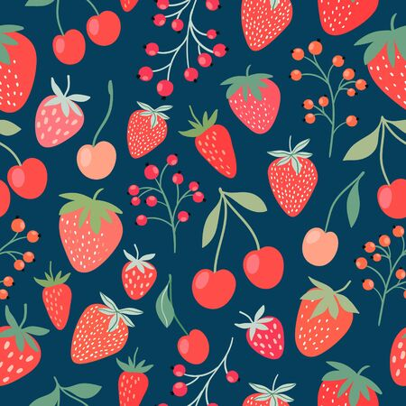 Decorative seamless pattern with strawberries, cherries and currants Çizim