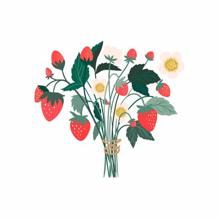 Strawberry bouquet with fruits, flowers and leaves, isolated on white background