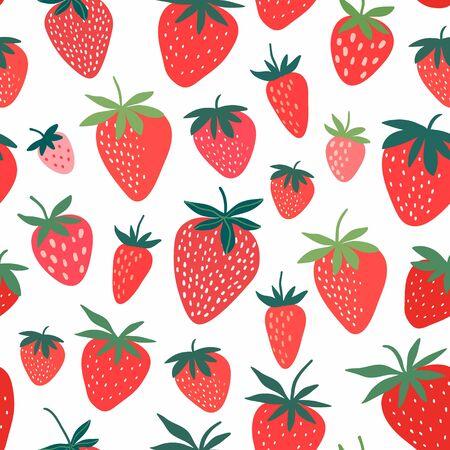 Strawberry seamless pattern with hand drawn decorative elements, white background Çizim