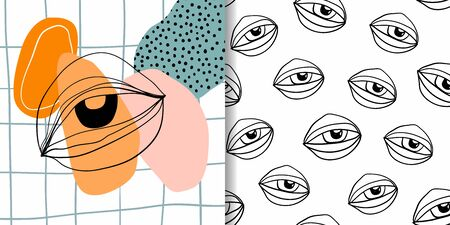 Abstract set with two different modern artworks, one seamless pattern with eyes and one decorative background with eye and doodle shapes Çizim