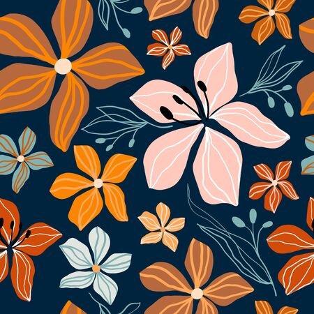 Abstract floral seamless pattern with decorative cut out shapes, trendy design