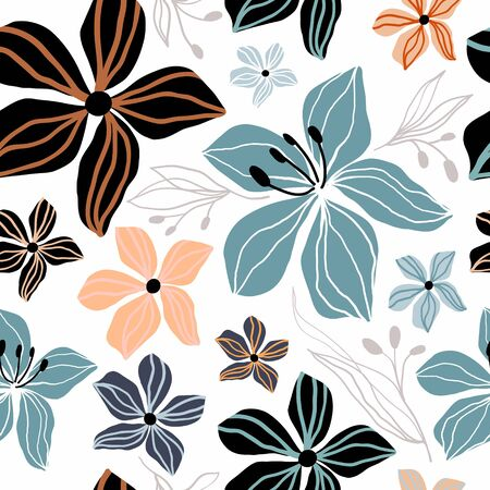 Floral abstract seamless pattern Çizim