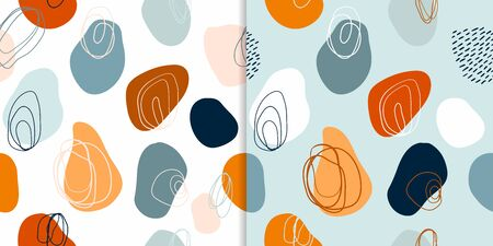 Abstract set with two different modern seamless patterns