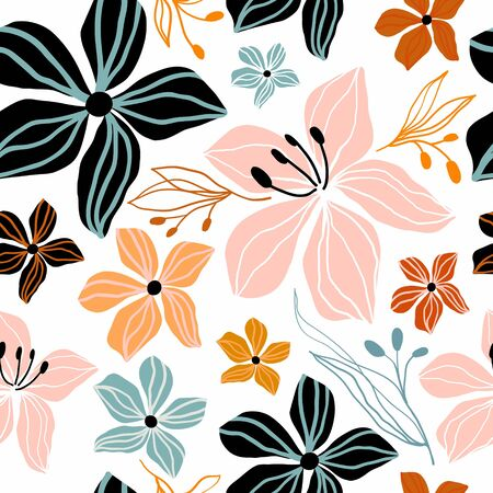 Abstract floral seamless pattern with flowers