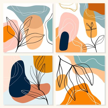 Abstract backgrounds/posters collection with four different artworks in pastel colors, doodle shapes, modern design