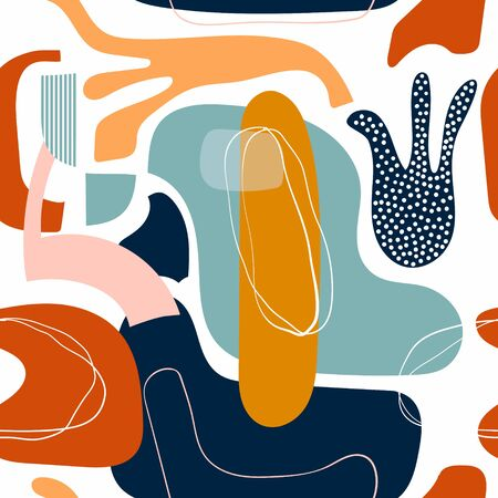 Abstract seamless pattern/background/wallpaper, modern design, decorative doodle shapes Çizim