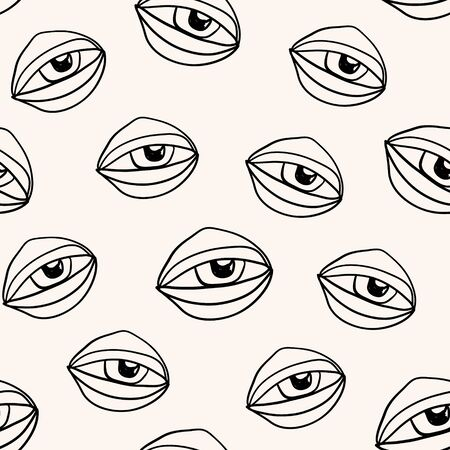 Abstract seamless pattern with outline eyes, modern design Çizim