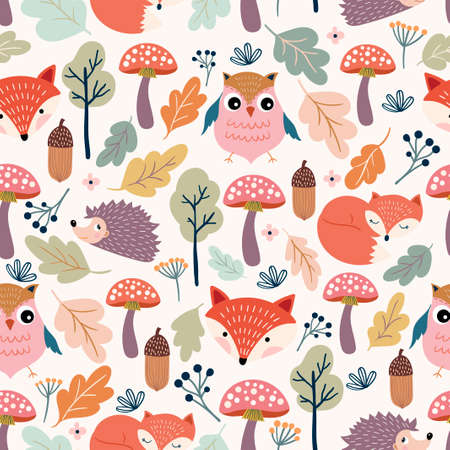 Autumn seamless pattern with seasonal design, hand drawn elements on white background Vecteurs