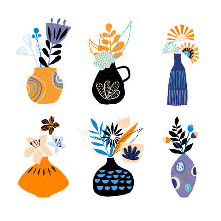 Abstract collection with cut out floral arrangements in different pots, freehand design