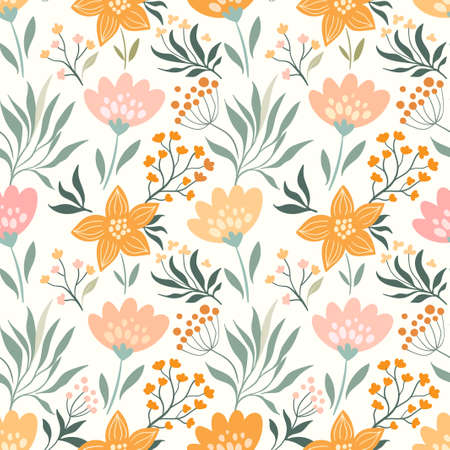 Spring, summer seamless pattern with different flowers and plants Illustration