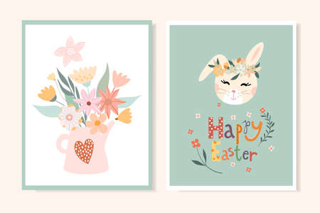 Easter greeting cards, invitations set with seasonal design