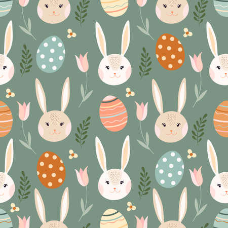 Easter seamless pattern with bunny, eggs and flowers, seasonal design Illustration