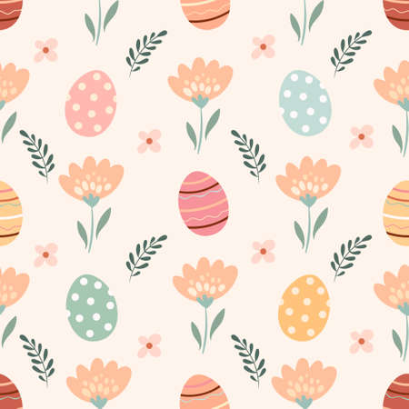 Easter seamless pattern with flowers and eggs, pastel colors, seasonal design Illustration