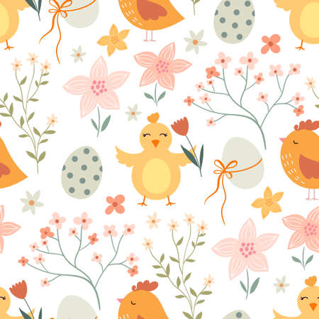 Easter seamless pattern with cute elements, chicken, eggs and flowers, pastel colors
