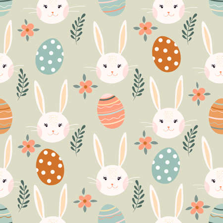 Easter seamless pattern with bunny, eggs and flowers, seasonal design, pastel colors Illustration
