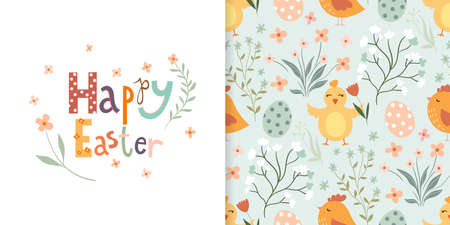 Easter set with seamless pattern and greeting card, seasonal design Illustration