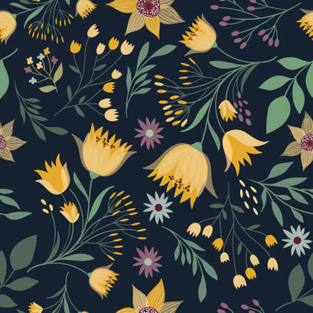 Floral seamless pattern with yellow flowers in bloom Illustration