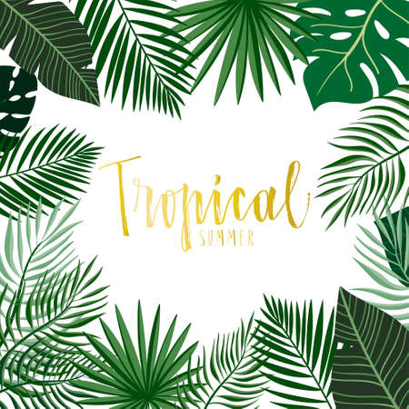Tropical frame/border with hand drawn exotic green leaves