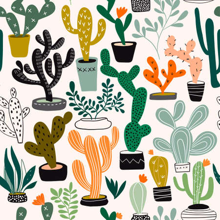 Seamless pattern with different cacti and exotic plants Illustration
